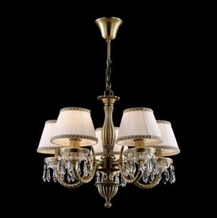 Casa Padrino Barock Kristall Decken Kronleuchter Messing 53, 5 x H 39 cm Antik Stil - Möbel Lüster Leuchter Hängeleuchte Hängelampe