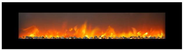 Casa Padrino Luxus LED Elektrokamin Schwarz 183 x 14 x H. 46, 5 cm - Moderner breiter Wandkamin mit Touchscreen & Fernbedienung