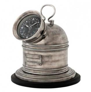 Designer Luxus Uhr Compass Henry Lloyd Collection versilbert Altik-Look- Edel & Prunkvoll - Tischuhr