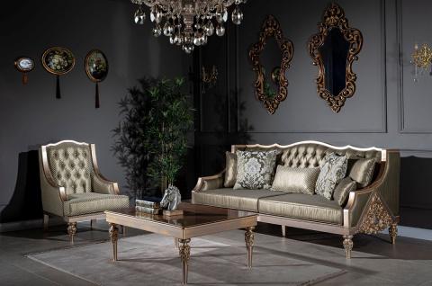 Casa Padrino Luxus Barock Couchtisch Braun / Silber / Kupfer / Gold 115 x 80 x H. 45 cm - Massivholz Wohnzimmertisch mit Glasplatte - Barock Wohnzimmer Möbel - Vorschau 2