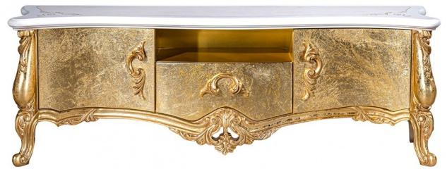 Casa Padrino Luxus Barock TV Schrank Weiß / Gold 176 x 48 x H. 61 cm - Prunkvoller Fernsehschrank mit 2 Türen und Schublade - Barock Wohnzimmer Möbel