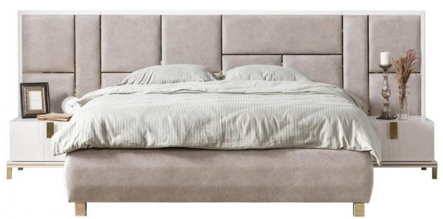 Casa Padrino Luxus Massivholz Schlafzimmer Set Grau / Weiß / Gold - 1 Doppelbett mit Kopfteil & 2 Nachttische - Luxus Schlafzimmer Möbel