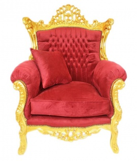 Casa Padrino Barock Wohnzimmer Set Bordeaux Samtstoff / Gold - 2er Sofa + 2 Sessel - Vorschau 3