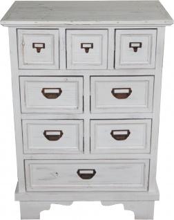 Casa Padrino Shabby Chic Landhaus Stil Kommode mit 8 Schubladen Antik Weiß B 64 cm, H 90 cm - Antik Kommode