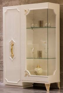 Casa Padrino Luxus Barock Vitrine Weiß / Gold - Handgefertigter Massivholz Vitrinenschrank mit 2 Türen - Barock Möbel - Edel & Prunkvoll