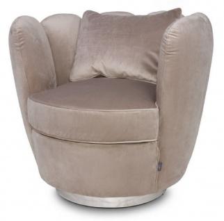 Casa Padrino Designer Samt Sessel Champagnerfarben 85 x 77 x H. 75 cm - Designer Wohnzimmer Möbel - Luxus Kollektion