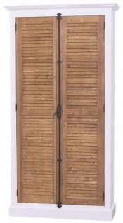 Casa Padrino Landhausstil Kleiderschrank Weiß / Braun 109 x 39 x H. 210 cm - Landhausstil Schlafzimmermöbel - Vorschau