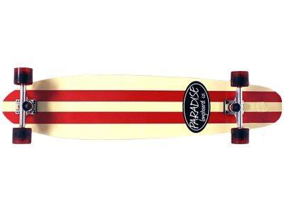 Paradise Longboard Skateboard Red/White Stripe Kicktail Komplett Longboard