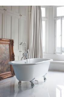 Casa Padrino Jugendstil Badewanne freistehend 1500mm BWin Weiß - Freistehende Retro Antik Badewanne