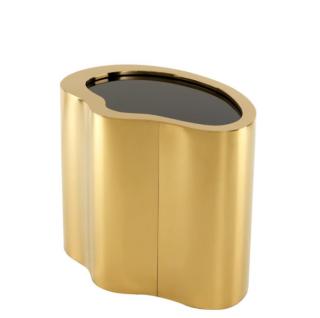 Casa Padrino Luxus Art Deco Designer Beistelltisch Gold mit schwarzem Glas - Luxus Kollektion