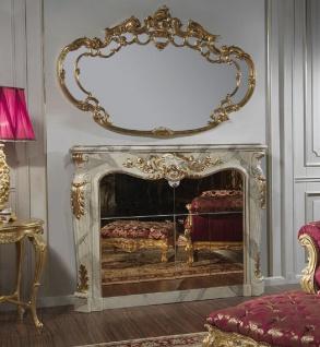 Casa Padrino Luxus Barock Möbel Set Kamin Barschrank mit Wandspiegel Grau / Gold - Verspiegelte Kunstmarmor Kamin Bar mit Spiegel - Hotel Restaurant Schloss Möbel - Luxus Qualität - Made in Italy