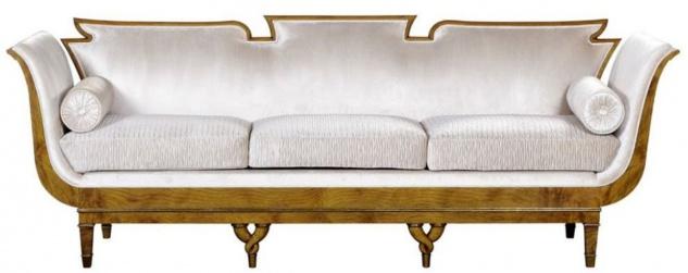 Casa Padrino Luxus Jugendstil 3er Sofa Weiß / Hellbraun - Edles Handgefertigtes Wohnzimmer Sofa - Barock & Jugendstil Wohnzimmer Möbel