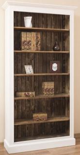 Casa Padrino Landhausstil Bücherschrank Weiß / Braun 110 x 39 x H. 210 cm - Massivholz Schrank - Regalschrank - Wohnzimmerschrank - Büroschrank - Landhausstil Möbel