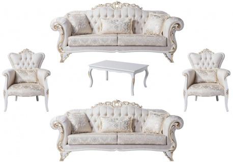 Casa Padrino Luxus Barock Wohnzimmer Set Creme / Weiß / Gold - 2 Sofas & 2 Sessel & 1 Couchtisch - Wohnzimmer Möbel im Barockstil - Edel & Prunkvoll