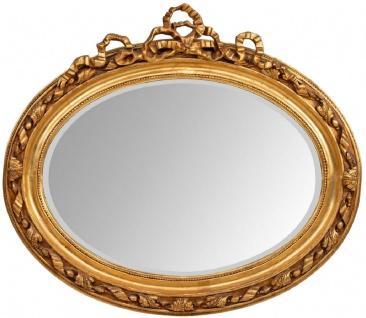 Casa Padrino Barock Spiegel Gold 129 x 12 x H. 112 cm - Ovaler Wandspiegel im Barockstil - Antik Stil Garderoben Spiegel - Wohnzimmer Spiegel - Barock Möbel