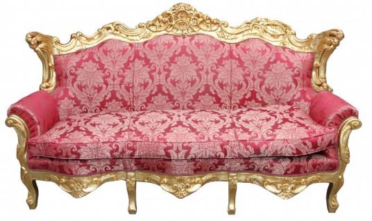 Casa Padrino Barock Wohnzimmer Set Bordeaux Muster/Gold - 3er Sofa+2er Sofa + 1 Sessel - Vorschau 2