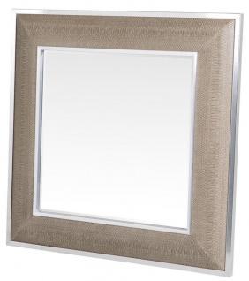 Casa Padrino Designer Spiegel mit cremefarbigen Cobradruck 100 x H. 100 cm - Luxus Kollektion - Vorschau