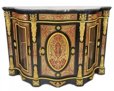 Casa Padrino Barock Boulle Kommode Schwarz / Gold / Rot mit Marmorplatte 161 cm - Möbel Schrank Sideboard