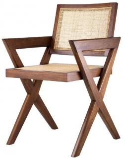 Casa Padrino Luxus Esszimmerstuhl Braun / Naturfarben 53 x 57 x H. 84, 5 cm - Massivholz Stuhl mit Armlehnen und handgewebtem Rattangeflecht - Luxus Esszimmer Möbel