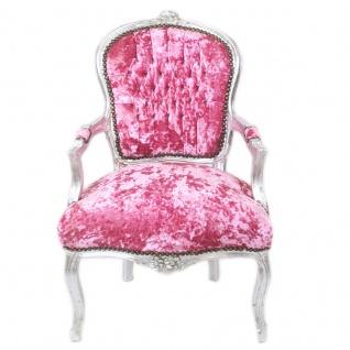 Casa Padrino Barock Salon Stuhl Pink Velour Stoff / Silber - Antik Design Möbel