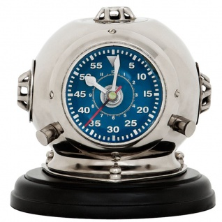 Casa Padrino Designer Uhr Taucherhelm auf Sockel 18 x H. 19 cm - Luxus Tischuhr