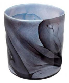 Casa Padrino Luxus Blumenvase Blau / Schwarz Ø 31 x H. 31 cm - Design Glas Vase