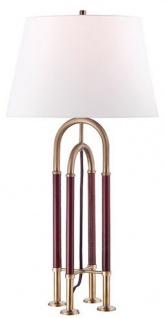 Casa Padrino Luxus Tischleuchte Antik Messing / Braun / Weiß Ø 40, 6 x H. 73, 7 cm - Edle Metall Leuchte mit hochwertigem Leder und Leinen Lampenschirm - Luxus Qualität
