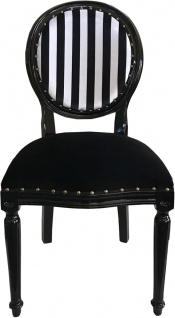 Casa Padrino Luxus Barock Medaillon Esszimmer Stuhl Schwarz Weiß Streifen / Schwarz - Möbel