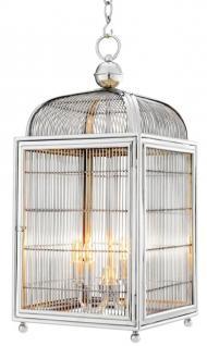 Casa Padrino Designer Hängeleuchte / Laterne Silber 38 x 38 x H. 81 cm - Luxus Hängelampe