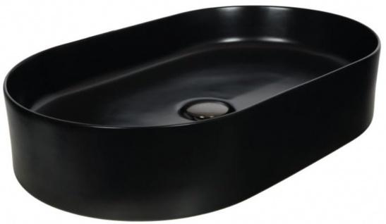 Casa Padrino Jugendstil Waschbecken Matt Schwarz 61 x 38, 5 x H. 12, 7 cm - Ovales Keramik Retro Waschbecken - Rustikales Bad Zubehör