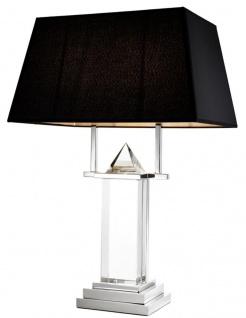 Casa Padrino Kristallglas Tischleuchte mit schwarzem Lampenschirm - Wohnzimmer Tischlampe