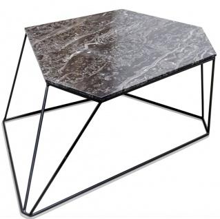 Casa Padrino Designer Couchtisch Schwarz 89 x 54 x H. 30 cm - Luxus Wohnzimmertisch mit Marmorplatte - Vorschau 2