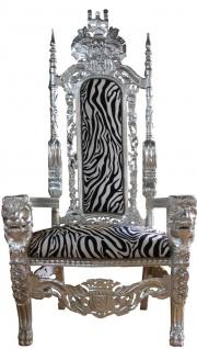 Casa Padrino Barock Thron Sessel Silber / Zebra Königssessel- Hochzeitssessel - Riesensessel