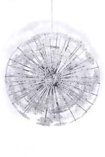 Designer Pendelleuchte aus verchromtem Stahl und transparenten Kunststoff-Schneeflocken - wunderschöne Hängelampe - Leuchte Lampe