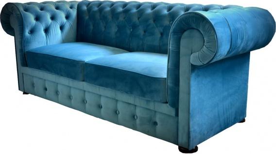 Casa Padrino Chesterfield 2er Sofa in Blau 160 x 90 x H. 78 cm - Luxus Chesterfield Sofa - Vorschau 2