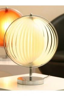 Designer Tischleuchte mit flexiblen und verstellbaren Kunststoff-Streifen, Weiss/Silber, Leuchte Lampe