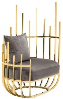 Casa Padrino Designer Sessel rechtsseitig mit 2 Kissen Grau / Gold 91, 5 x 75 x H. 136, 5 cm - Designer Wohnzimmer Möbel - Luxus Qualität - Vorschau 5