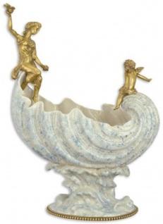Casa Padrino Jugendstil Porzellan Schüssel mit Bronzefiguren Weiß / Blau / Gold 36, 1 x 20, 2 x H. 49 cm - Barock & Jugendstil Deko Accessoires