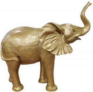 Casa Padrino Designer Dekofigur Elefant Gold 160 x H. 160 cm - Riesige Deko Skulptur - Gartendeko