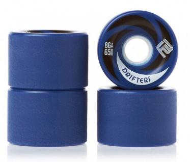 Flying Wheels Longboard Profi Wheels Drifters 65mm / 86a Blau abgerundet + angeraute Lauffläche - Longboard Cruiser Wheel Set (4 Rollen)