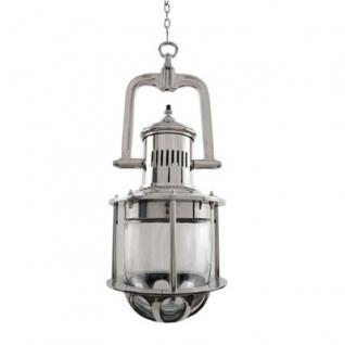 Casa Padrino Industrie Leuchte Laterne - Luxus Edelstahl Hängeleuchte vernickelt 25 x H 64 cm