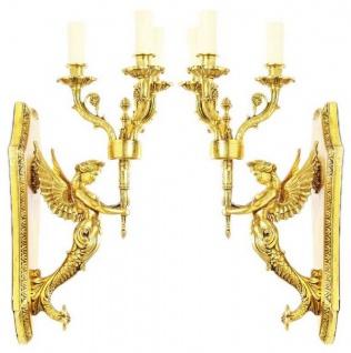 Casa Padrino Barock Wandkerzenhalter Set Gold 20 x 20 x H. 50 cm - Barock Deko Accessoires