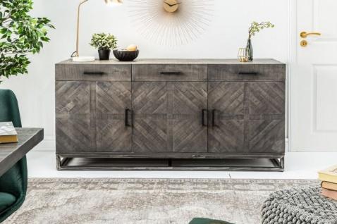 Casa Padrino Designer Massivholz Sideboard Grau 160 x 50 x H. 80 cm - Wohnzimmerschrank mit 3 Türen und 3 Schubladen - Wohnzimmermöbel - Vorschau 2