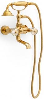 Casa Padrino Luxus Jugendstil Wannenbatterie mit Schlauch und Handbrause Gold - Badewannen Armatur mit Kristallglas - Nostalgisches Bad Zubehör
