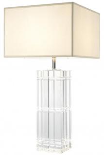 Casa Padrino Luxus Designer Hotel Kristallglas Tischleuchte mit weißem Lampenschirm - Limited Edition