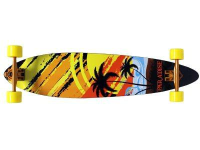 Paradise Longboard Skateboard White Sunset Fishtail 39, 5x9, 5 inch