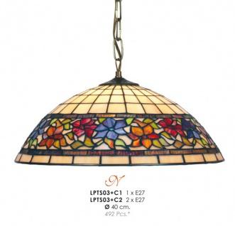 Casa Padrino Tiffany Pendelleuchte Ø 40 cm - Tiffany Hängeleuchte - Tiffany Leuchten