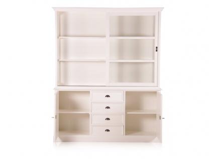 Casa Padrino Landhausstil Wandschrank Antik Weiß mit 2 Türen und 4 Schubladen 185 x 43 x H. 225 cm - Landhausstil Möbel - Vorschau 2