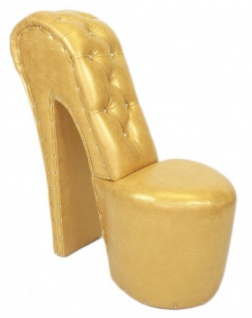 Casa Padrino High Heel Sessel mit Dekosteinen Gold Luxus Design - Designer Sessel - Club Möbel - Schuh Stuhl Sessel
