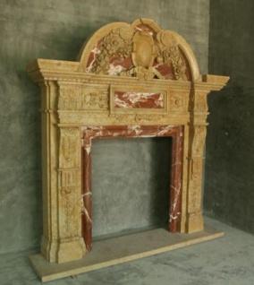 Casa Padrino Luxus Barock Kaminumrandung Beige / Rot 250 x 42 x H. 235 cm - Prunkvolle Kaminumrandung aus hochwertigem Marmor - Barock Möbel